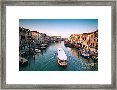 Vaporetto On The Grand Canal - Venice Framed Print by Matteo Colombo