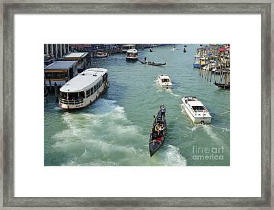 Vaporettos In Venice Framed Print by Sami Sarkis