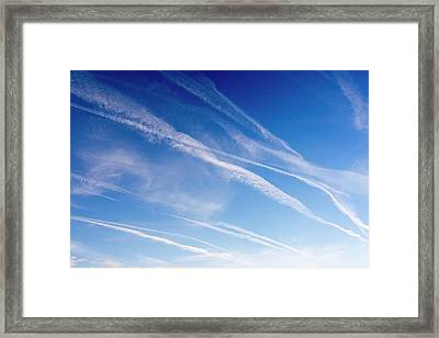 Vapour Trails Over Northumberland Framed Print by Ashley Cooper