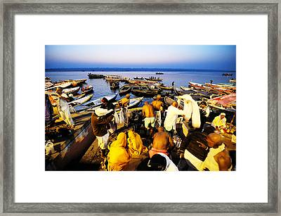 Varanasi Dawn Framed Print by Money Sharma