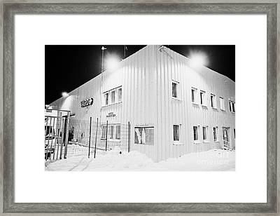 Vardo Port And Warehouse Building At Night In Winter Finnmark Norway Europe Framed Print