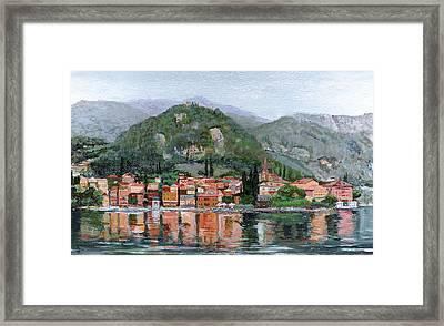 Varenna, Lake Como, Italy, 2004 Oil On Canvas Framed Print by Trevor Neal