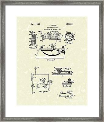 Variable Resistance 1926 Patent Art Framed Print by Prior Art Design
