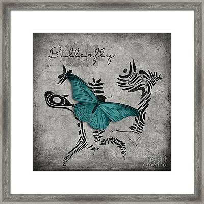 Variation Sur Un Meme Theme - S05 Butterfly Turquoise Framed Print by Variance Collections