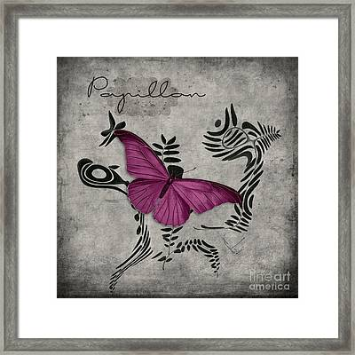 Variation Sur Un Meme Theme - S05 Papillon Pink Framed Print by Variance Collections