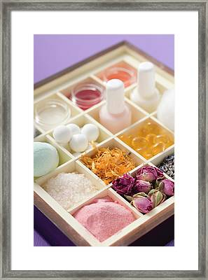 Various Beauty Products And Flowers In Type Case Framed Print