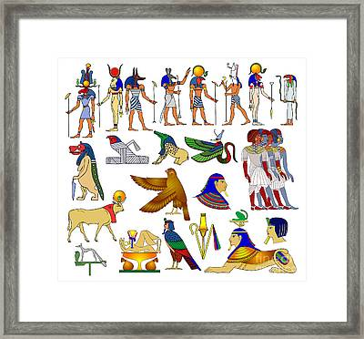 Various Themes Of Ancient Egypt Framed Print by Michal Boubin