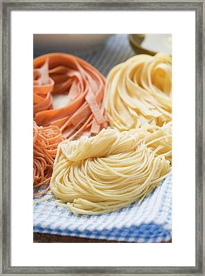 Various Types Of Home-made Pasta Framed Print