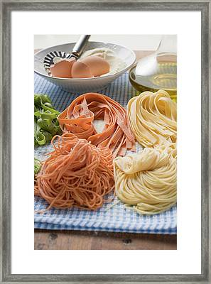 Various Types Of Home-made Pasta With Ingredients Framed Print