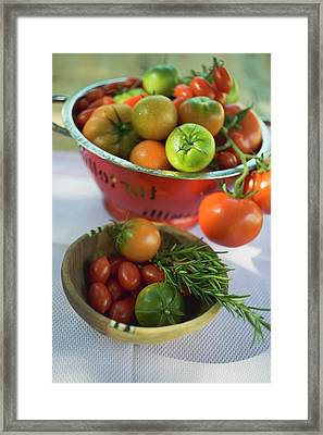 Various Types Of Tomatoes In Wooden Bowl And Colander Framed Print