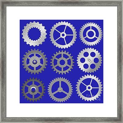 Various Vector Gears Framed Print by Michal Boubin