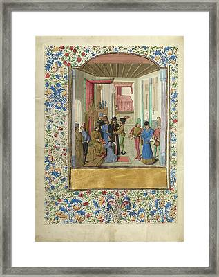 Vasco Da Lucena Giving His Work To Charles The Bold Master Framed Print by Litz Collection
