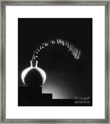 Vase And Berries Framed Print by Tony Cordoza