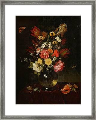 Vase And Flowers, 1655 Framed Print by Adriaen Pietersz van de Venne