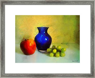 Vase And Fruits Framed Print