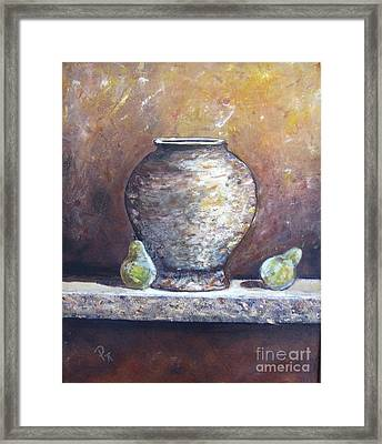 Vase And Pears Framed Print