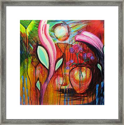 Vase In Blooms Framed Print by Brenda Nachreiner