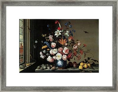 Vase Of Flowers By A Window Framed Print by Balthasar Van Der Ast