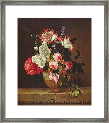 Vase Of Flowers Framed Print by Gerard van Spaendonck