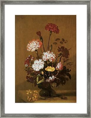 Vase Of Flowers Framed Print by Hans Bollongier