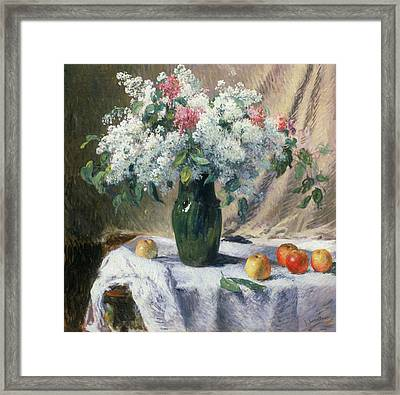 Vase Of Flowers Framed Print by Henri Lerolle