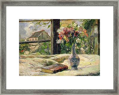 Vase Of Flowers Framed Print by Paul Gauguin
