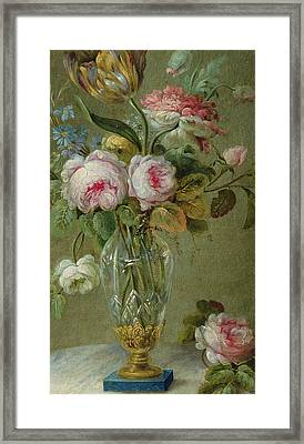 Vase Of Flowers On A Table Framed Print by Michel Bellange