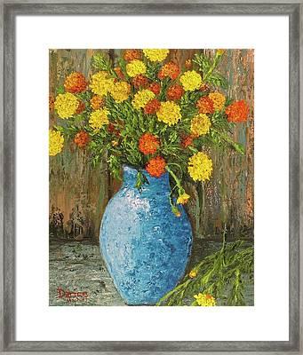 Vase Of Marigolds Framed Print