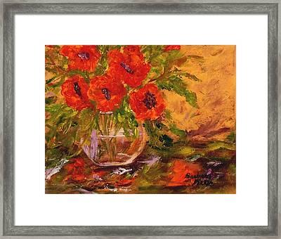 Vase Of Poppies Framed Print by Barbara Pirkle