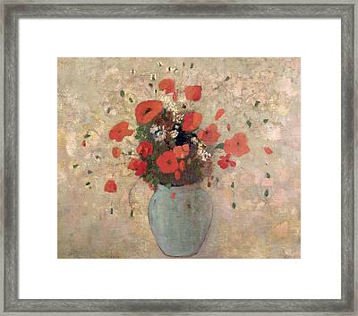 Vase Of Poppies Framed Print by Odilon Redon