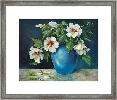 Vase Of Rose Of Sharons Framed Print by Jolyn Kuhn