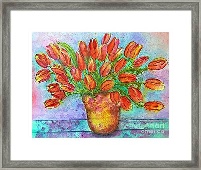 Vase Of Tulips Framed Print by Dion Dior