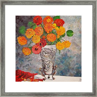 Vase With Bird Framed Print