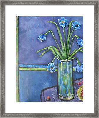 Vase With Blue Flowers And Cherries Framed Print by Chaline Ouellet