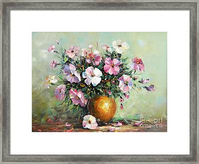 Vase With Petunias Framed Print by Petrica Sincu