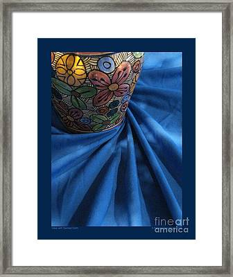 Vase With Swirled Cloth Framed Print