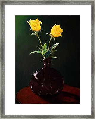 Vase With Yellow Roses Framed Print