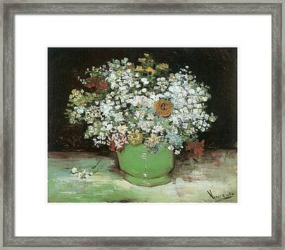 Vase With Zinnias And Other Flowers Framed Print