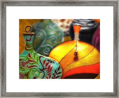 Framed Print featuring the digital art Vases by Nina Bradica