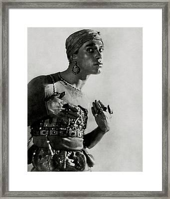 Vaslav Nijinsky In Costume Framed Print by Baron Adolphe De Meyer