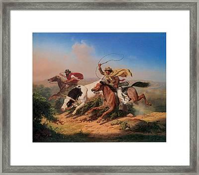 Vasqueros Roping A Steer Framed Print by Charles Christian Nahl