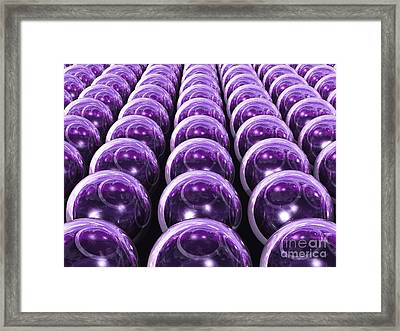 Vast Array Of 3d Transparent Orbs - Purple Version Framed Print