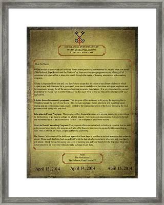 Vatican City Community Letter Framed Print
