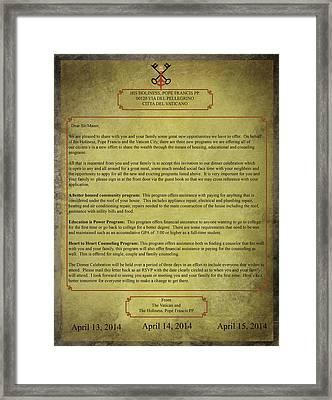 Vatican City Formal Letter Framed Print