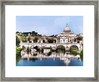 Vatican City Seen From Tiber River In Rome Italy Framed Print