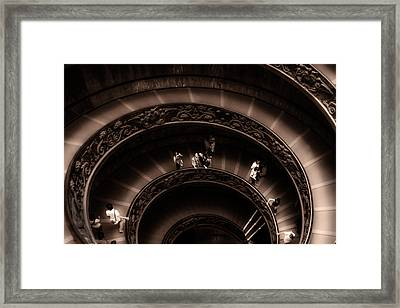 Framed Print featuring the photograph Vatican Museum Spiral Staircase by Rob Tullis