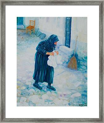 Framed Print featuring the painting Forenza Vita Nonna Filomena In Blu by Giovanni Caputo