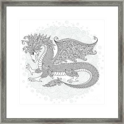 Vector Cartoon Dragon. Hand Drawn Framed Print