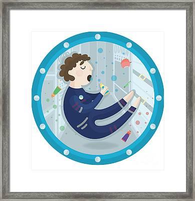 Vector Illustration Of An Astronaut Framed Print