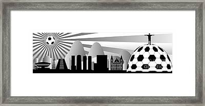 vector Rio skyline with ball Framed Print by Michal Boubin